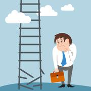 Sad and confused businessman character lost job Stock Illustration