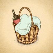 Vintage picnic basket Stock Illustration