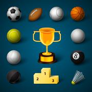 Sports realistic icons set Stock Illustration