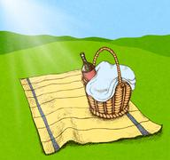 picnic basket with food and wine - stock illustration