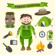 Stock Illustration of camping and outdoor activity tourism elements