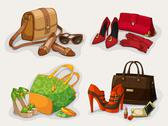 Stock Illustration of collection of women bags shoes and accessories