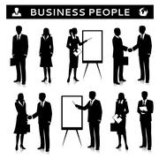 flipcharts with business people silhouettes - stock illustration