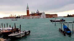 Boats in Venice, view of St Maries from Venice Italy waterfront. Stock Footage