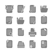 documents files and folders icons set - stock illustration