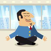 Stock Illustration of boss meditation scene