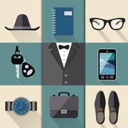 Gentleman business suit set Stock Illustration