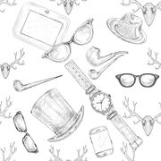seamless hand drawn hipster accessories pattern - stock illustration