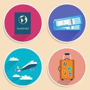 Vacation travel voyage icons set Stock Illustration