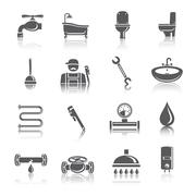 Plumbing tools pictograms icons Stock Illustration