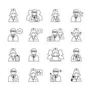 Medicine doctors and nurses icons set Stock Illustration