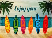 Stock Illustration of summer vacation surfboard poster