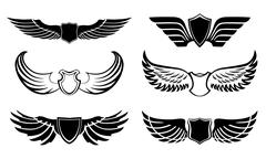 Abstract feather wings pictograms set Stock Illustration
