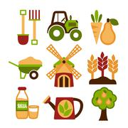Farming harvesting and agriculture icons set Stock Illustration