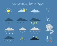 Stock Illustration of weather forecast icons set