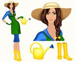 Stock Illustration of young woman garden worker