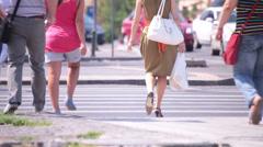 People crossing zebra street Stock Footage