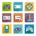 Stock Illustration of video games controller icons set