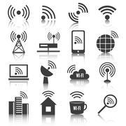 Wireless communication network icons set Stock Illustration