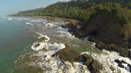 Stock Video Footage of Ocean waves crashing on rugged coastline, Dominical, Costa Rica