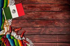 Stock Photo of background: mexican flag on wooden background