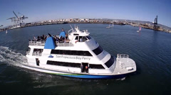 Ferry Boat Aerial Flyover with waving Passengers - stock footage