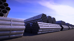 Stock Video Footage of Background CG animation of steel pipes bunches. Tubes building construction