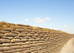 Trenches of death world war one sandbags in flanders Stock Photos