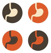 Human stomach symbol set Stock Illustration
