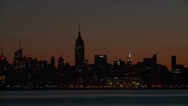 Stock Video Footage of Midtown Manhattan Skyline Morning Twilight 1