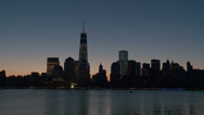 Stock Video Footage of Lower Manhattan Skyline Morning Twilight 5