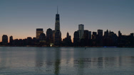 Stock Video Footage of Lower Manhattan Skyline Morning Twilight 6