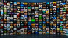 Multichannel curved display of colorful screens. montage footages media Stock Footage