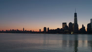 Stock Video Footage of Manhattan Skyline Morning Twilight 1
