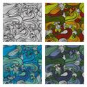 Stock Illustration of set of 4 elegant seamless patterns with decorative waves, design elements