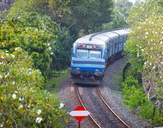 Bentota, sri lanka - 28 apr 2013: new sri lanka railways class s12 train in b Stock Illustration