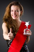 Stock Photo of Woman winning the beauty contest