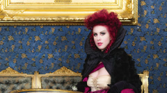 Portrait of the Baroness in baroque salon Stock Footage