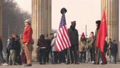 American and Russian soldier in Berlin - stock footage