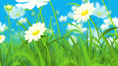 Animated Illustration Consisting of Flowers, Grass and Flying Butterflies Stock Footage