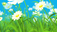 Stock Video Footage of Animated Illustration Consisting of Flowers, Grass and Flying Butterflies