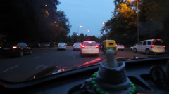 Driving at sunset in New Delhi Stock Footage