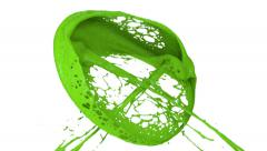 Green paint splashes collide in slow motion and form ring (FULL HD) Stock Footage