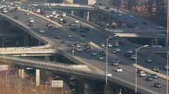 Rush hour roads in central business district ,Beijing, China Stock Footage