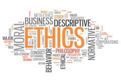 word cloud ethics - stock illustration