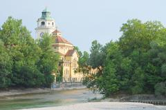 Stock Photo of Munich Bathhouse on the River Isar