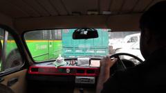 Delhi traffic standstill through taxi Stock Footage