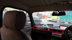 View from Delhi Taxi at rush hour Stock Footage