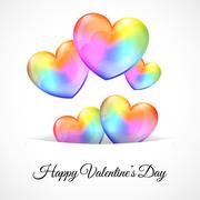 Background with Multicolor Heart Balloons Piirros