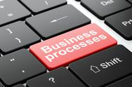 Stock Illustration of Business concept: Business Processes on computer keyboard background
